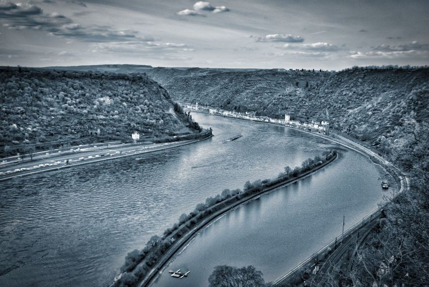 Blick von der Loreley Aerial View Beauty In Nature Cloud Cloud - Sky Cloudy Day Horizon Over Land Idyllic Landscape Loreley Mode Of Transport Mountain Nature No People Outdoors Remote Rhine River Scenics Sky Tourism Tranquil Scene Tranquility Travel Destinations Water