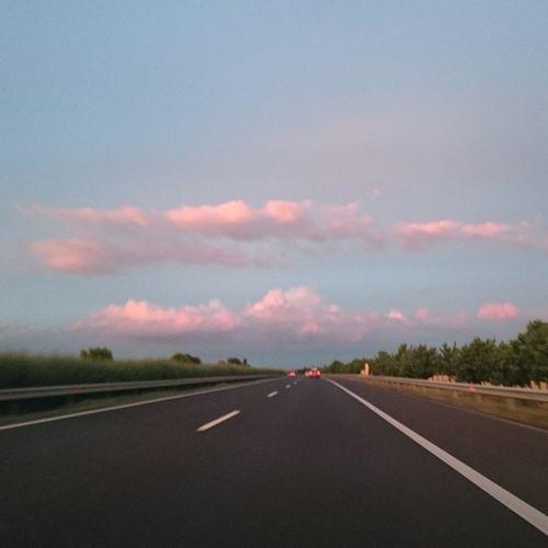 Pink Blue Skies in Hungary M3 Sunset Clouds Cloudporn Highway Ontheroadagain Travel Car Goinghome Mik Ikozosseg Ig_hun Instahun Instagood Photooftheday Nofilter Colorful Nature Naturelovers