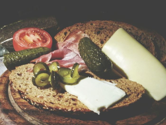 Saudade for Austria. Jause Midnight Snack Bread Kornspitz Food Healthy Eating Butter Cheese / Speck : Alto Adige IT and Austria / Food And Drink Indoors  No People Freshness Sandwich Brown Bread Gurken Ready-to-eat Smartphone Photography Note 2 Android Photography Castraveti