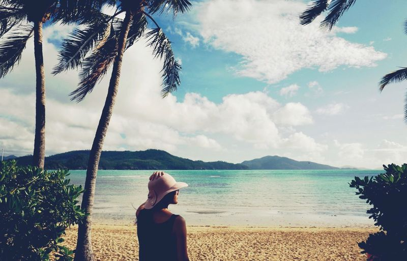 Looking Out Water Sky Cloud - Sky Beauty In Nature Tree One Person Beach Sea Tranquility Women Outdoors Nature Tranquil Scene