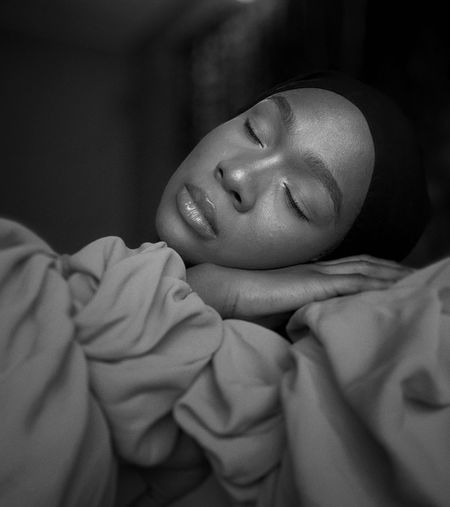 Close-up of a woman sleeping