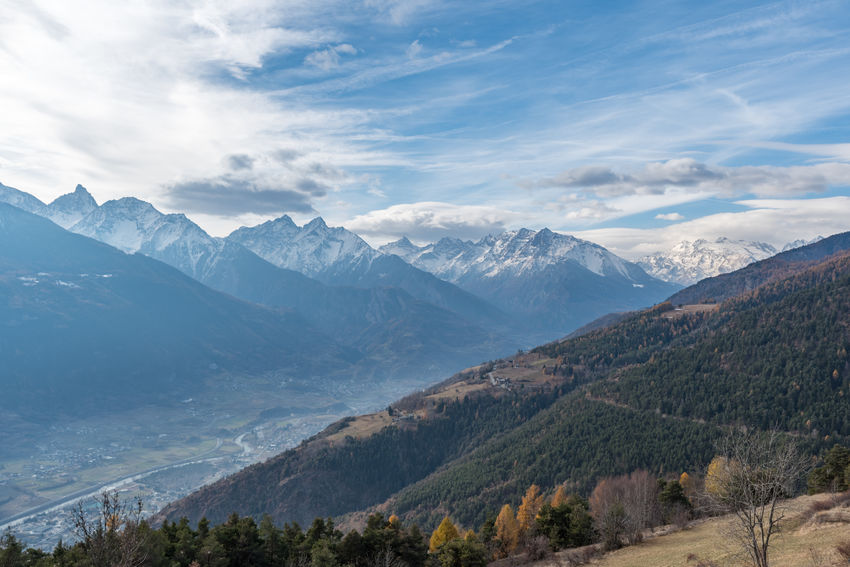 Aosta Autumn Trees Aostavalley Beauty In Nature Clouds Landscape Mountain Mountain Range Nature No People Outdoors Scenics Sky Snow Tranquil Scene Tranquility