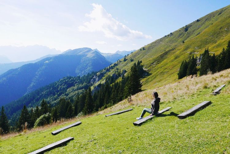 Mountain Mountain Range Green Color Real People Beauty In Nature Sky Leisure Activity Nature Grass Scenics Sport Lifestyles Outdoors girl People Slovenia