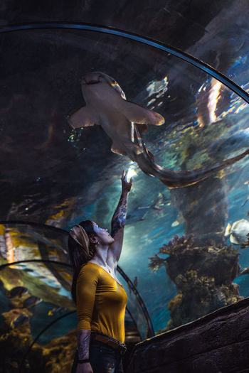 Full length of young woman looking at shark  swimming in aquarium