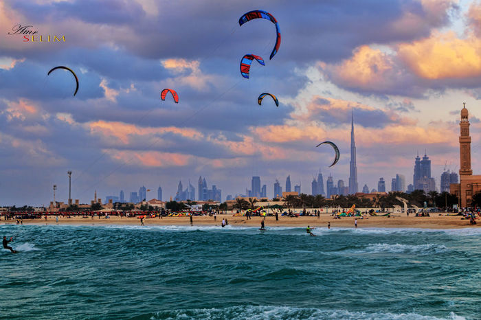 Architecture Beach Burj Khalifa Burjkhalifa Cloud - Sky Dubai Dubai❤ Flying Jumairah Kiteboarding Kitesurfing Mid-air Outdoors Sea Sea And Sky Sky Sunset Surfing Surfingphotography Water