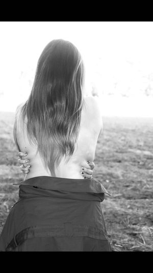 Rear view of girl looking away