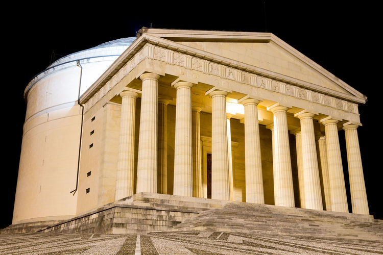 Temple of Canova. Roman style temple, Possagno, Italy Façade Canova Antonio Canova Temple Temple Architecture Temple - Building Possagno Possagno Italy Canova Italy Italian Landscape Landmark Night View Ancient Civilization Government Politics And Government The Past Neo-classical Ancient Rome Colonnade Monument Historic Building Historic Arcade National Monument