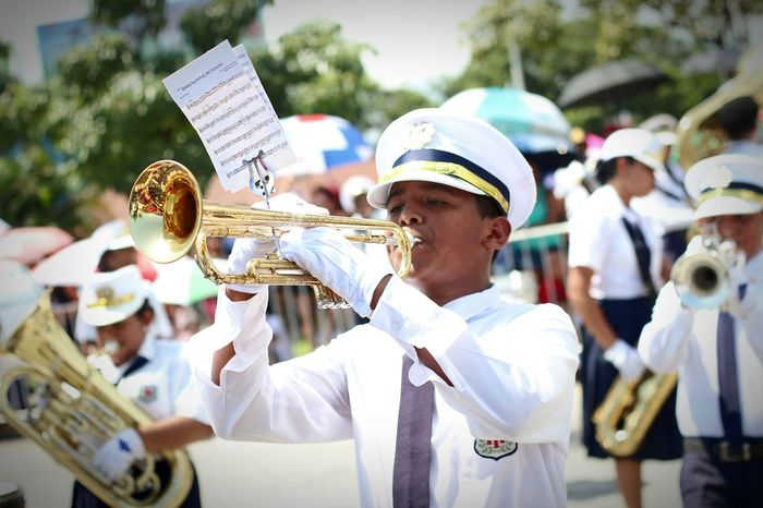 Music Life Real People Musician Musical Instrument Trumpet City Day Uniform Focus On Foreground Celebration Parade PanamaCity Panamá EyeEm EyeEm Best Shots Eyeemphoto Patriotic