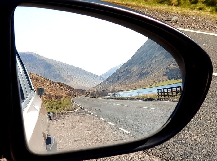 Mirror Reflection Glencoe Scotland Scottish Highlands Side-view Mirror Road Window Water Side-view Mirror Sky Close-up Car Point Of View Vehicle Mirror