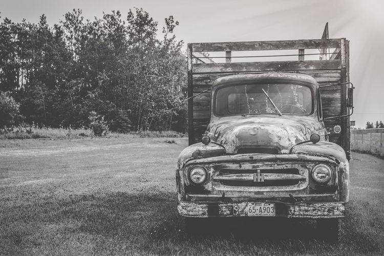 Vintage car on field against sky