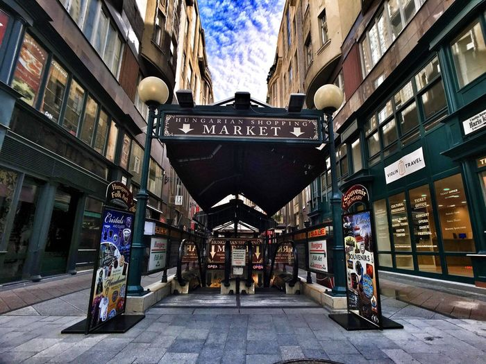 Architecture Building Exterior Built Structure City Information Street Shop City Life Commercial Sign Market Budapest Budapest, Hungary