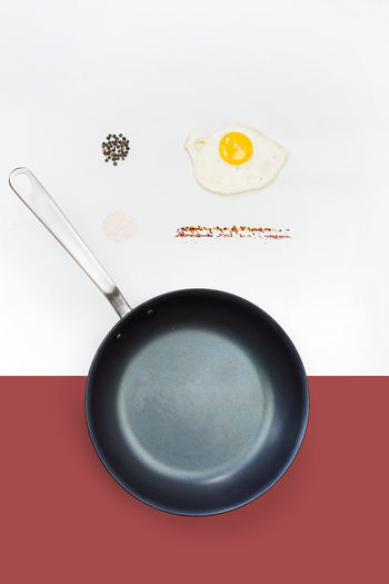 Indoors  Still Life Food And Drink No People Kitchen Utensil Food Studio Shot Close-up Eating Utensil Directly Above High Angle View Text Spoon Freshness Red White Background Healthy Eating Communication Household Equipment Drink Fried Egg