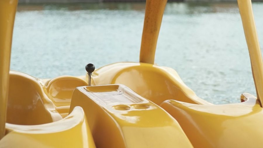 Close-Up View Of Yellow Pedal Boat