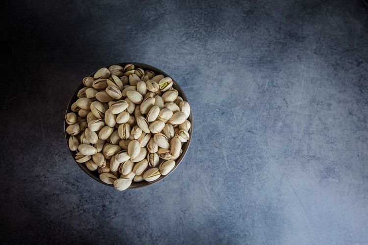 Directly above shot of pistachios on table