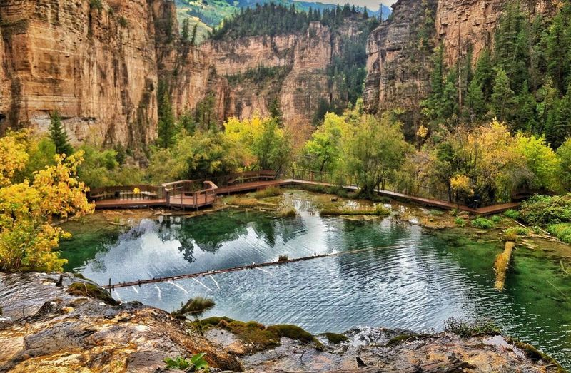 Overlooking Hanging Lake in Glenwood Canyon, CO Nature Scenics Water Tranquil Scene Beauty In Nature Rock - Object Tree Tranquility Idyllic Travel Destinations Outdoors No People Mountain Lake Day Landscape