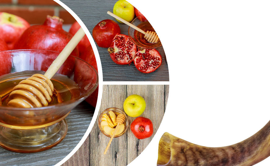 Jewish holiday Rosh Hashana banner design with honey and apples. traditional food of jewish New Year celebration Shofar and tallit Jewish Yom Kippur Apple - Fruit Bowl Close-up Container Eating Utensil Food Food And Drink Freshness Fruit Glass Healthy Eating High Angle View Indoors  Jewish Holiday Jewish Holidays Judaism Kitchen Utensil Kosher Kosher Food No People Red Rosh Hashanah Shofar Still Life Strawberry Table Wellbeing Wood - Material