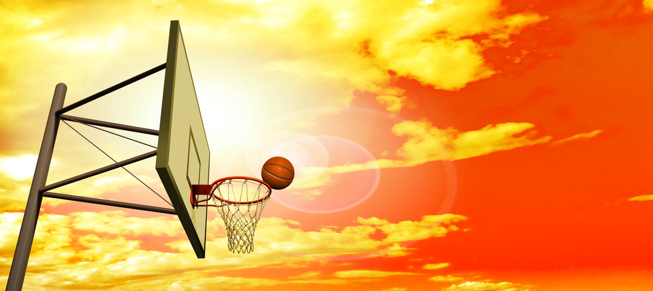 sky, sunset, orange color, cloud - sky, nature, basketball - sport, basketball hoop, low angle view, sunlight, sport, outdoors, sun, beauty in nature, no people, ball, lens flare, mid-air, flying, focus on foreground, net - sports equipment, brightly lit
