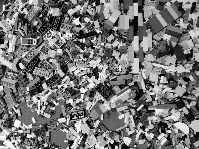 High angle view of garbage on floor