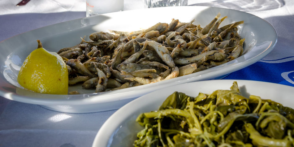 Seafood at a Greek tavern Seafood WHITEBAIT Food Food And Drink Freshness Fried Greece Greek Food Greens Healthy Eating Lemon No People Picarel Plate Ready-to-eat Sardines Tavern