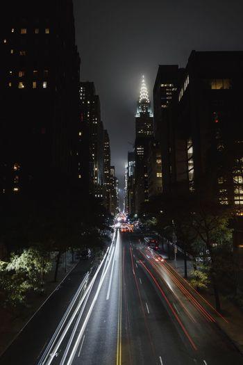 Illuminated Night City Architecture Transportation Road Building Exterior