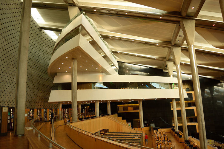 The modern architecture of Alexandria Library in Egypt Alexandria Architecture Edu Egypt Library Wood Architectural Architectural Column Architecture Ceiling Education Fancy Illuminated Indoors  Lifestyles Modern Roof Wood - Material