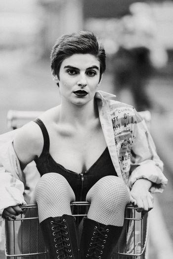 Portrait of woman in trolley.