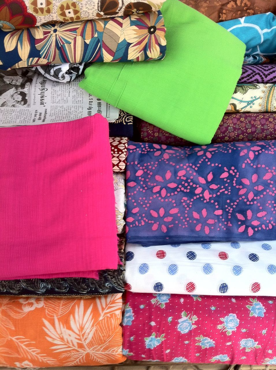 High Angle View Of Colorful Fabrics In Shop For Sale
