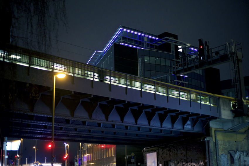Architecture Bridge Bridge - Man Made Structure Built Structure City Illuminated Low Angle View Movement Neon Night Night Lights Night Photography Night View Nightlife Nightphotography Nightshot Railing Sky Street Streetphotography Train Train Line Travel Breathing Space Discover Berlin