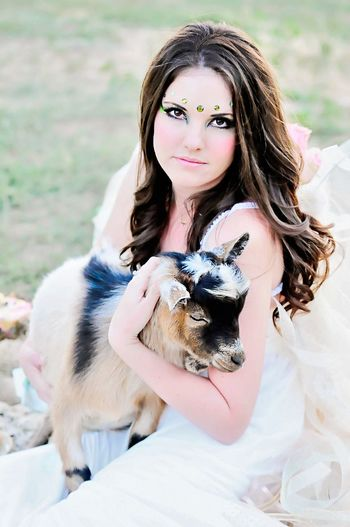Wedding Dress Countryside Glamour Nikonphotographer Glamourous Fashion Photography Farm Animals Bride Fairytale  Nikon Fairy Goat Timeless Beauty Style Countryside Makeup Conceptual Photography  Rural Landscape