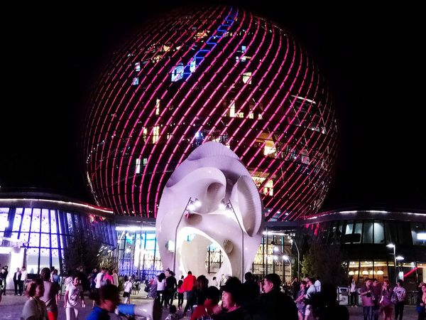 EXPO-2017 EXPo2017 Kazakhstan Night Arts Culture And Entertainment Illuminated Amusement Park Low Angle View People Leisure Activity