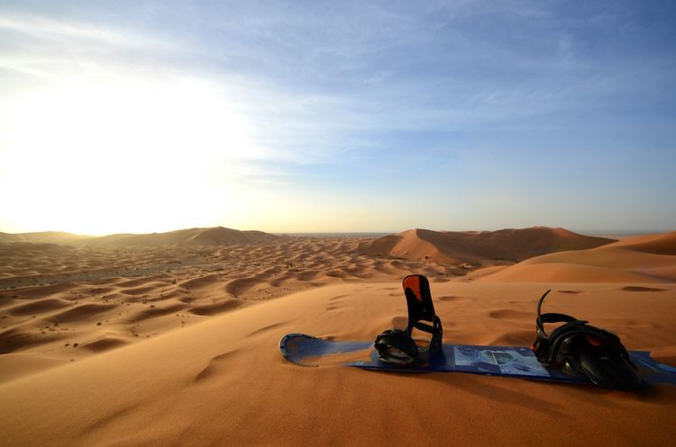 Desert Sunlight Sand Sand Dune Sky Outdoors Landscape Clear Sky Adventure No People Scenics Day Nature Morocco Merzouga Snowboard Sunset Yellow Blue Adventuretime