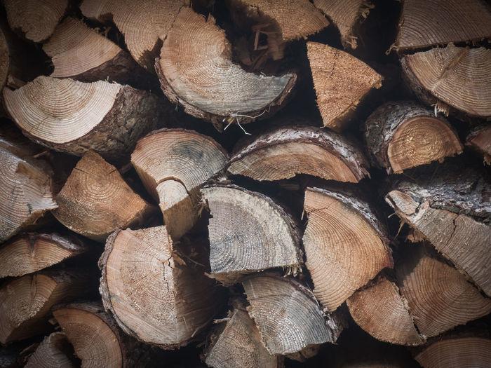 Full frame shot of firewood closeup