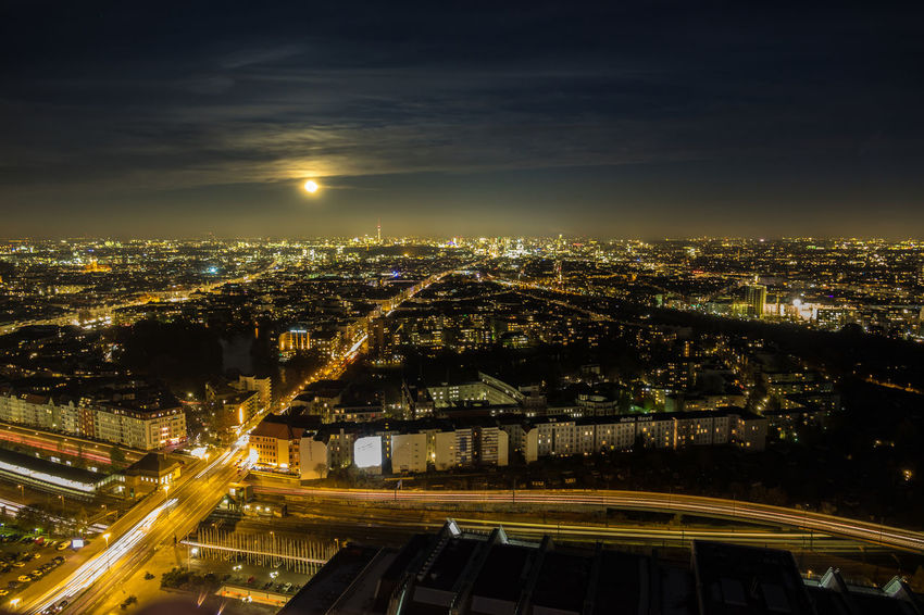 Berlin bei Nacht Aerial View Architecture Avus Berlin Berlin Bei Nacht Berlin Panorama City City Life Cityscape Fun High Angle View Illuminated Long Exposure Mondschein Moon Moonlight Nachthimmel Night No People Skyscraper Supermond Supermoon Urban Skyline