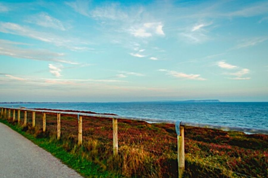 Sea Sea And Sky Beautiful Nature Water Fence Green Grass Blue Blue Sky Path