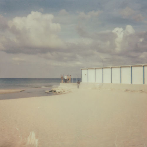 Analogue Photography Architecture Beach Beauty In Nature Built Structure Cloud - Sky Day Horizon Horizon Over Water Land Nature No People Outdoors Polaroid Sand Scenics - Nature Sea Sky Tranquil Scene Tranquility Water