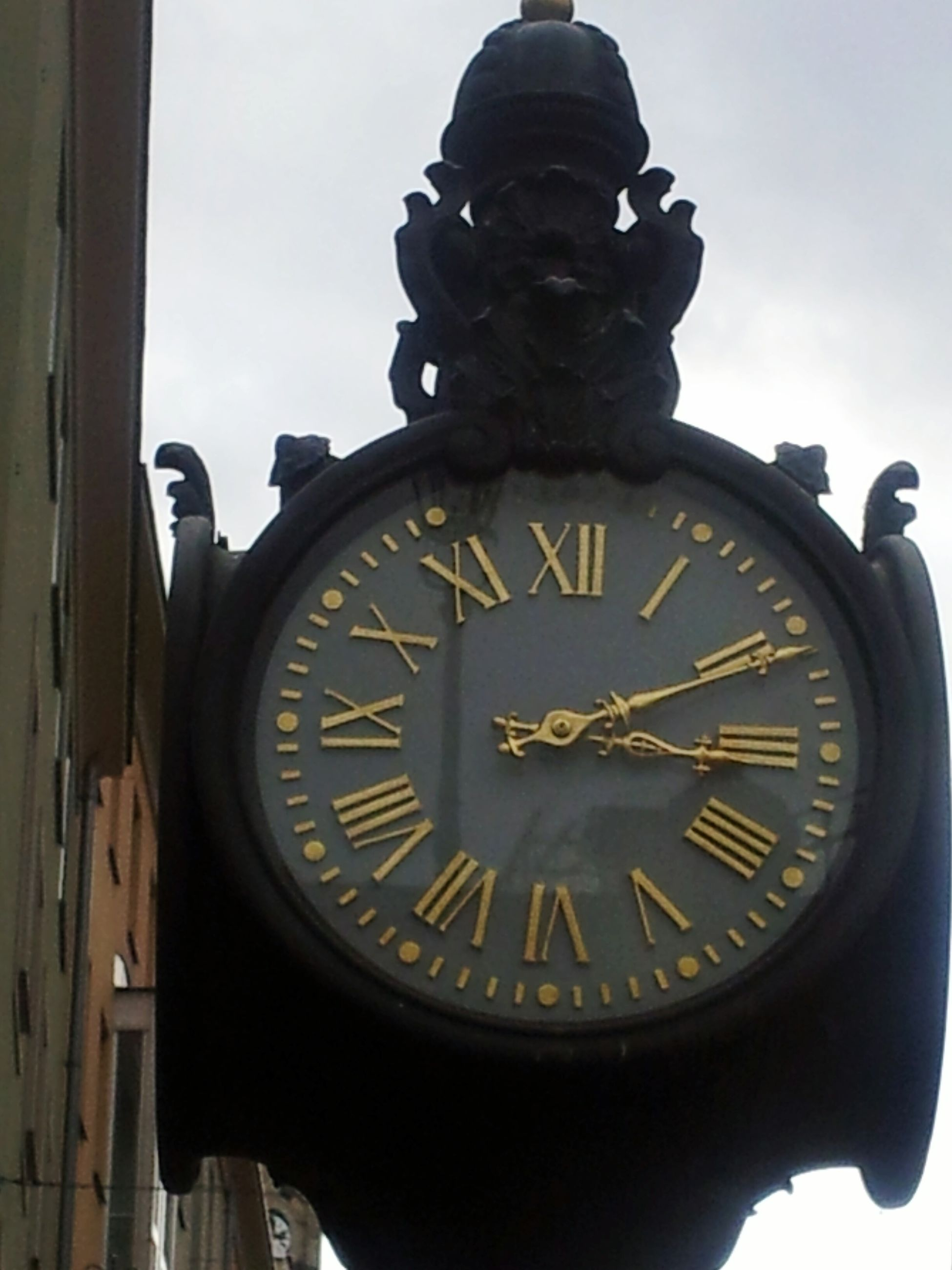 text, communication, clock, time, number, close-up, low angle view, western script, clock face, metal, old-fashioned, no people, old, day, roman numeral, clock tower, wall clock, guidance, antique, instrument of time