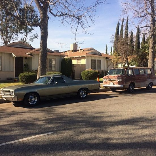 Althea & Bertha looking oh so great. In front of my humble abode. Chevy Chevrolet Elcamino Corvair Bowtie