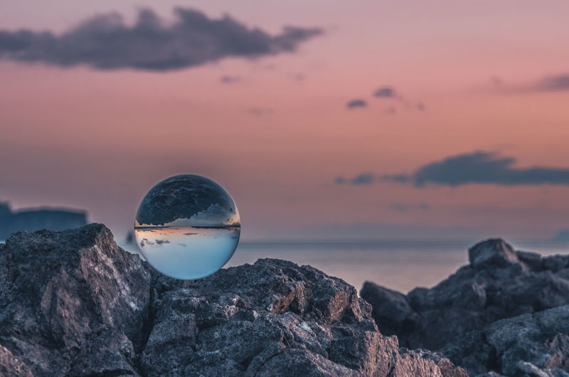 Sunset EyeEm Best Shots EyeEm Nature Lover EyeEm Selects EyeEm Gallery Glass Ball Sunset_collection Close-up Crystal Ball Horizon Over Water Nature No People Outdoors Rock - Object Sea Sky Sunset Water