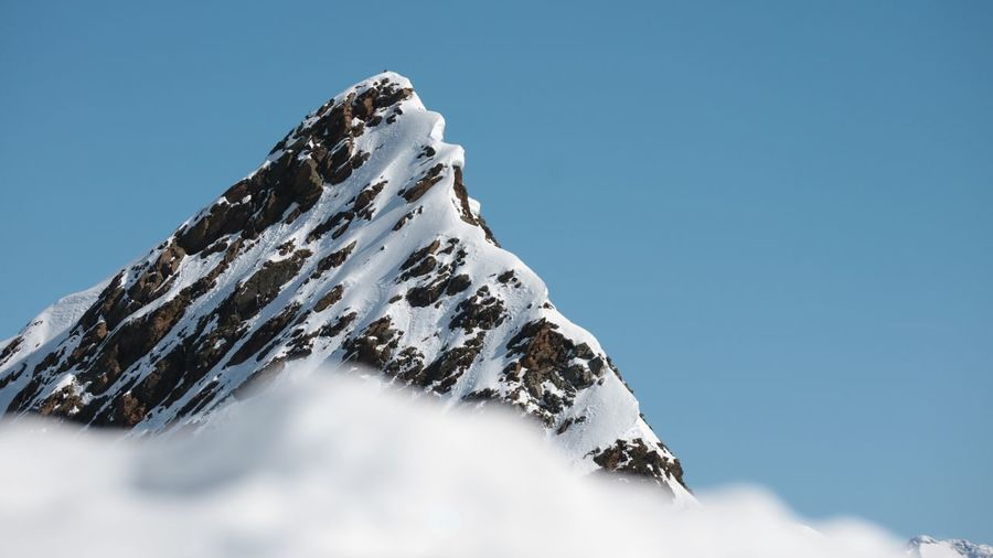Mountain, snow , nothing Sky Low Angle View Snow Winter Cold Temperature Nature My Best Photo Clear Sky Scenics - Nature Beauty In Nature Mountain White Color Tranquility Rock Blue Rock - Object