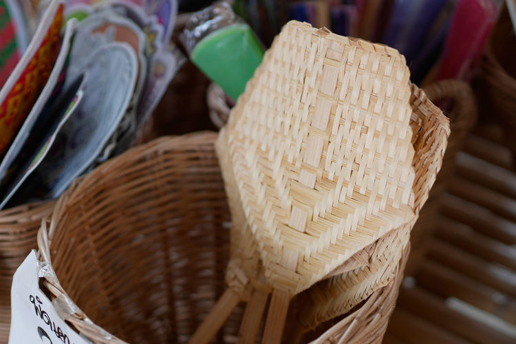 Close-up of wicker basket for sale in market