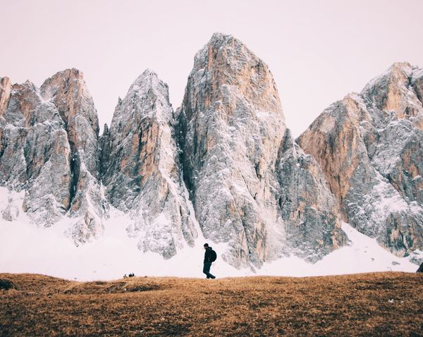 The Great Outdoors - 2017 EyeEm Awards Mountain One Person Adventure Mountain Range Scenics Snow Landscape Nature Hiking Dolomites, Italy Alps Giant Outdoors Rocks Day Travel Destinations Breathing Space Lost In The Landscape