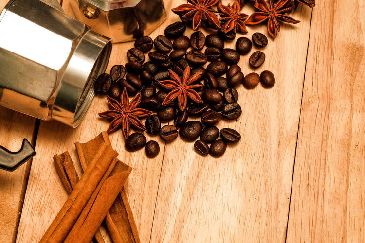 High angle view of coffee beans on table