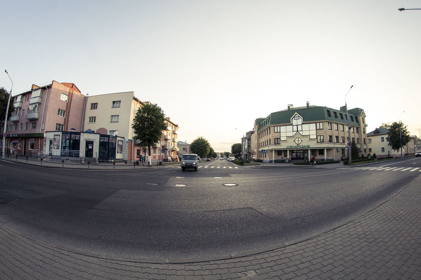 Architecture Belarus Building Building Exterior City City Life City Street Clear Sky Day Empty Lida No People Outdoors Residential Building Road Sky The Way Forward
