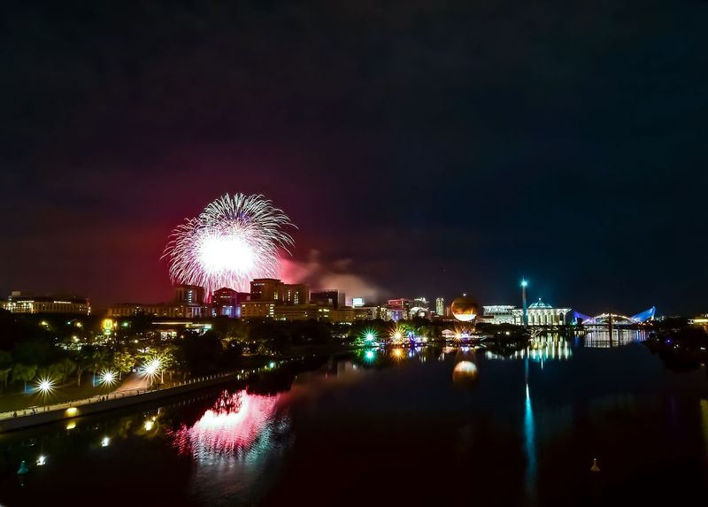 happy new year 2018 Night Building Exterior Firework Display Built Structure Long Exposure Cityscape No People River