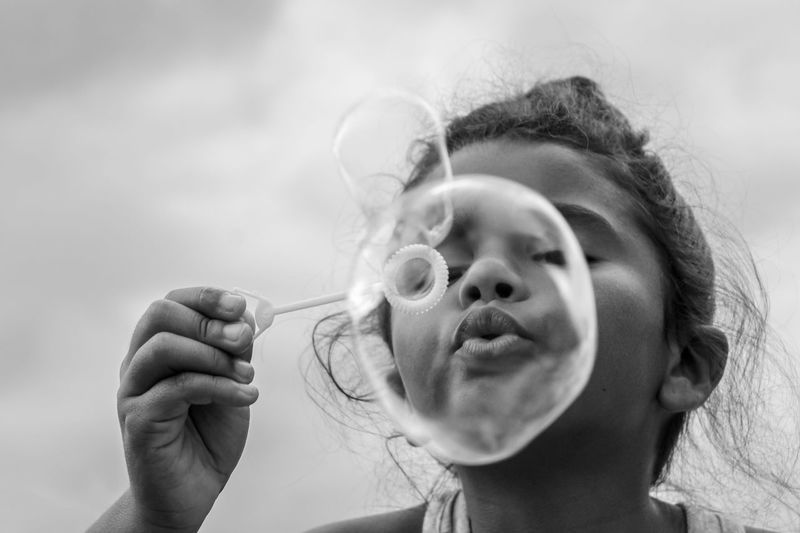Fun Monochrome Black And White Girl Blowing Bubbles Bubble Childhood Child One Person Portrait Headshot Real People Girls Leisure Activity Holding Close-up Innocence Moments Of Happiness My Best Photo