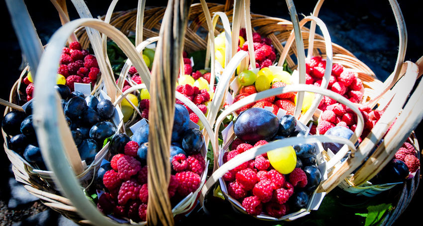 Basket Berry Fruit Choice Close-up Container Day Flower Flowering Plant Food Food And Drink Freshness Fruit Healthy Eating Multi Colored No People Plant Red Ripe Still Life Variation Wellbeing