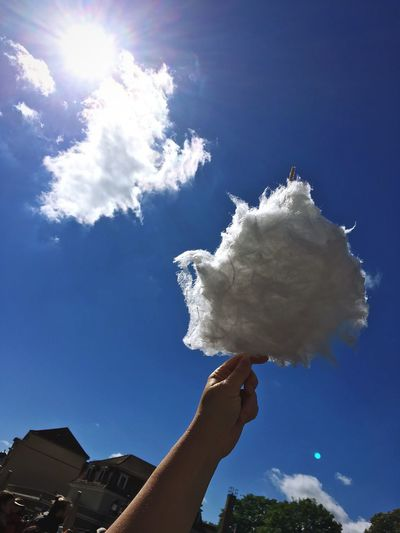 Cotton Candy Cotton Candy Sky Clouds And Sky Sky Cloud - Sky Hand Human Hand Nature Day One Person Low Angle View Blue Human Body Part Sunlight Holding Real People Outdoors Unrecognizable Person Personal Perspective White Color Finger