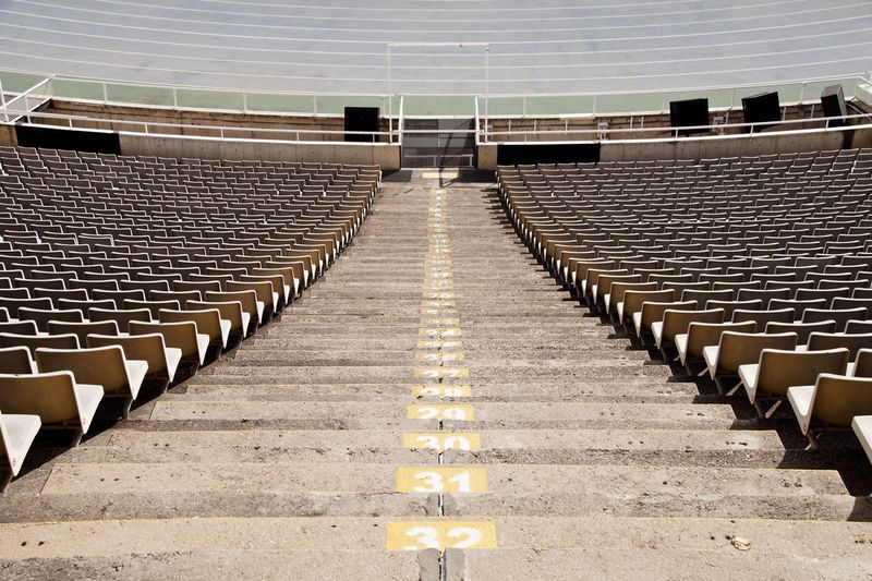 Empty chairs and steps in stadium during corona