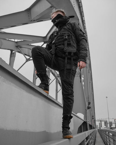 Urban Ninja, Urban, Urban Fashion, Fashion, ninja Real People Architecture Day One Person Clothing Full Length Lifestyles Men Occupation Sky Casual Clothing Railing Leisure Activity Transportation Nature Standing Nautical Vessel Outdoors Built Structure Uniform Warm Clothing