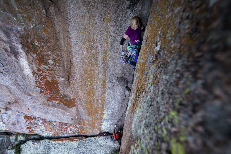 Pamela Shanti-Pack climbing a new route in Vedauwoo, Wyoming. Rock - Object Rock Climbing Solid Extreme Sports Day Activity Adventure Rock Climbing Lifestyles People Sport Real People Leisure Activity Men Wall - Building Feature Rock Formation Mountain Outdoors Effort
